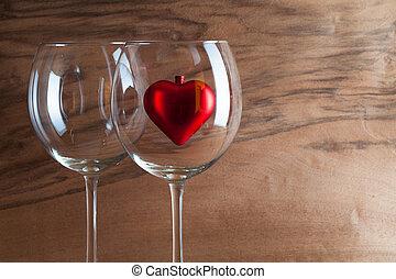 corazón, vino, dos, rojo, anteojos
