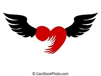corazón, vuelo, fondo., rojo, icono, blanco, alas