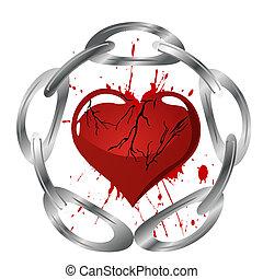 corazón, y, cadena