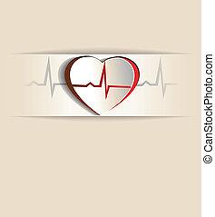 corazón, y, cardiograma