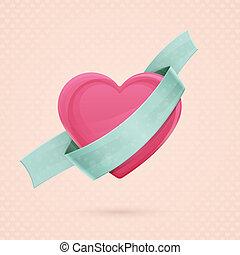corazón, y, cinta, dos