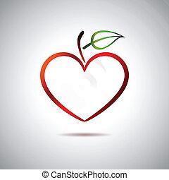 corazón, y, fruta