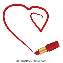 corazón, y, lápiz labial