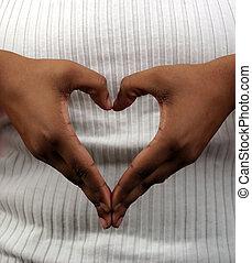 corazón, y, manos