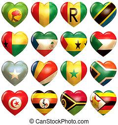 corazones, africano