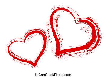corazones, blanco, dos, plano de fondo