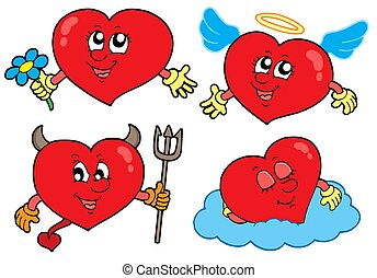 corazones, caricatura, colección