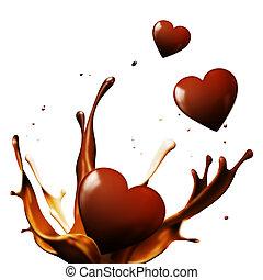 corazones, chocolate