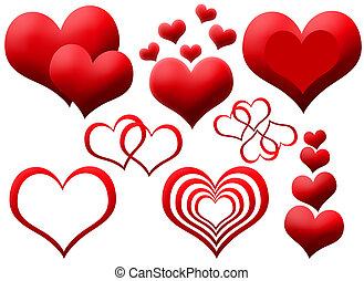 corazones, clipart, rojo
