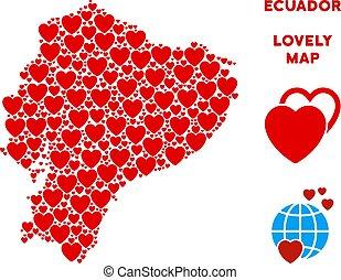 corazones, composición, vector, mapa, ecuador, valentine