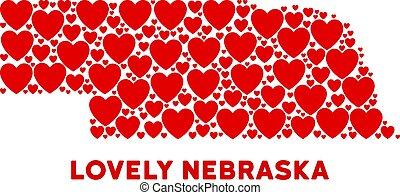 corazones, composición, vector, nebraska, mapa del estado, valentine
