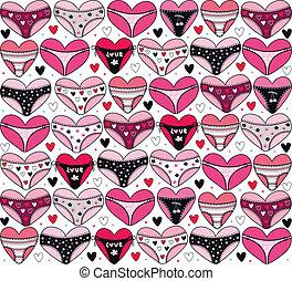 corazones, con, lingerie., valentino, d