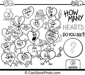 corazones, contar, colorido, página