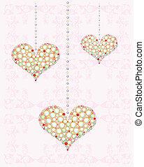 corazones, diamante, tarjeta de felicitación