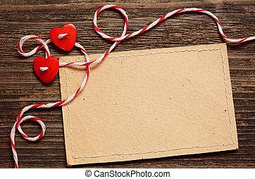 corazones, dos, tarjeta