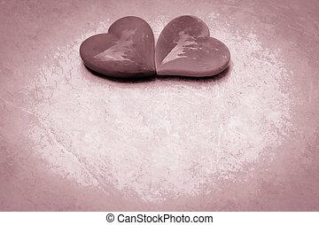 corazones, dos, unido