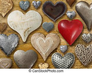 corazones, en, madera, plano de fondo