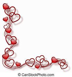 corazones, en, un, marco