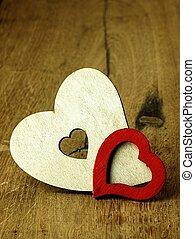 corazones, en, un, tablas de madera, plano de fondo