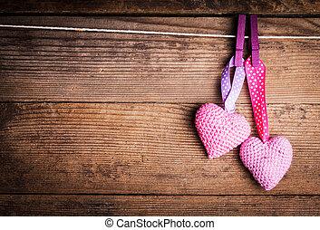 corazones, encantador, croché