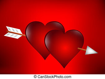 corazones, flecha, perforado