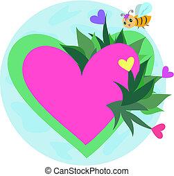 corazones, flores, abeja