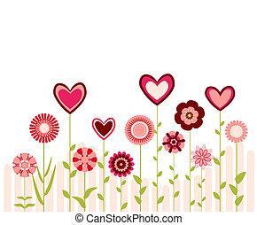 corazones, flores
