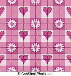 corazones, flores, tartán