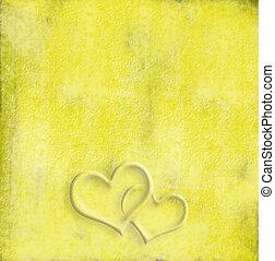 corazones, fondo amarillo, dos