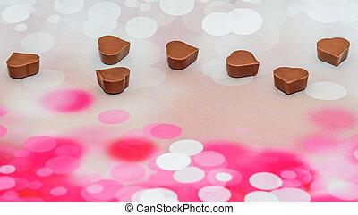 corazones, forma, chocolate, día de valentines, dulces, rosa, bokeh, fondo.