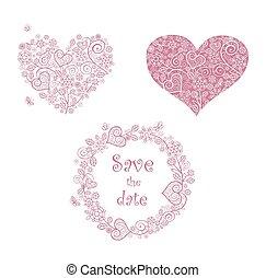 corazones, forma, de encaje, floral, marco, hermoso
