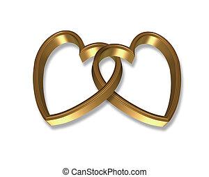 corazones, gráfico, ligado, oro, 3d