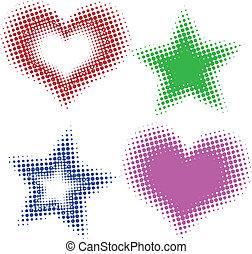 corazones, halftone, estrellas