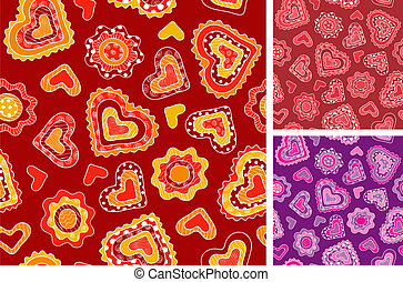 corazones, hand-drawn, seamless, patrones