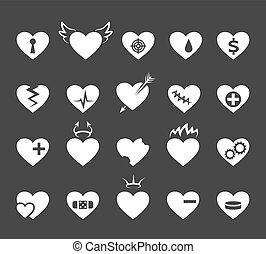 corazones, icons., sano, y, adore corazón, pulso, hearted,...