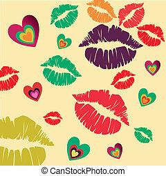 corazones, labios
