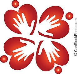corazones, manos, trabajo en equipo, logotipo