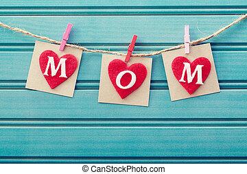 corazones, mensaje, fieltro, día, madres