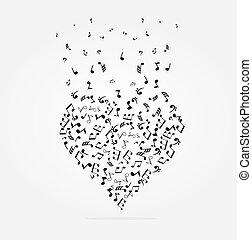 corazones, notas, musical