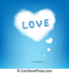 corazones, nube, texto