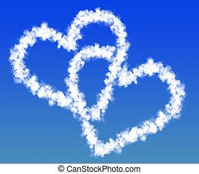 corazones, nubes, dos