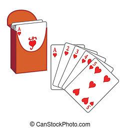 corazones, póker, rubor, tarjetas, derecho