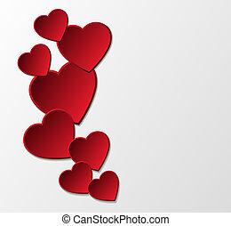 corazones, papel, rojo, fondo.