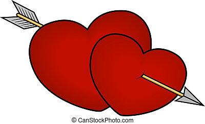 corazones, perforado