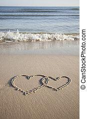 corazones, playa, dos