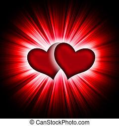 corazones, rayos, negro, dos