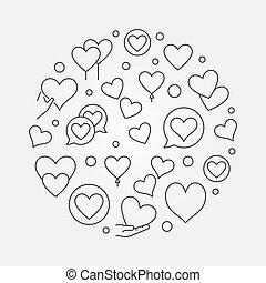 corazones, redondo, contorno, vector, moderno, ilustración