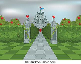 corazones, reina, palacio