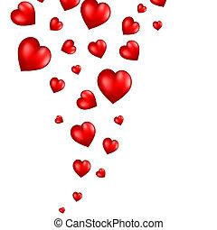 corazones, resumen, vuelo, fondo rojo