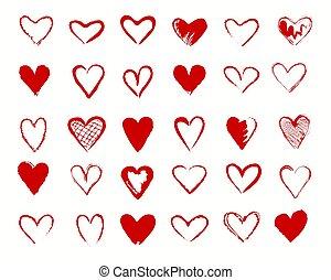 corazones, rojo, señales, colección